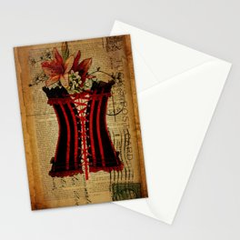 elegant girly lily flower newspaper print  black red corset Stationery Cards