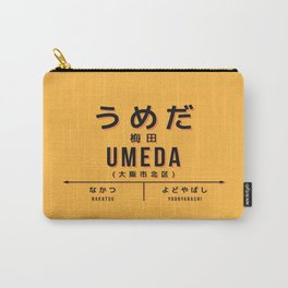 Vintage Japan Train Station Sign - Umeda Osaka Yellow Carry-All Pouch