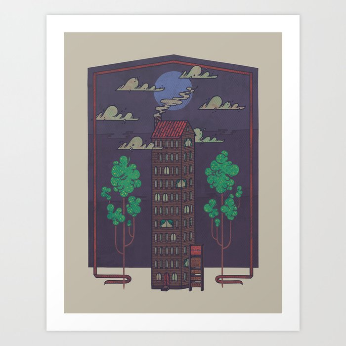 The Towering Bed and Breakfast of Unparalleled Hospitality Art Print
