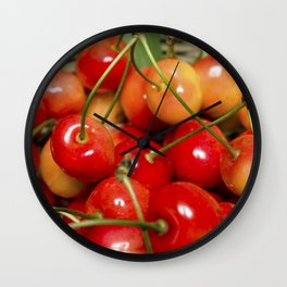 Cherries in a Basket Close Up Wall Clock