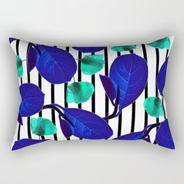 Blue Leaves + Aqua Poppies Rectangular Pillow