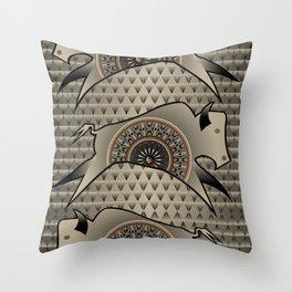 Buffalo Running (Gray) Throw Pillow