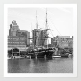 A US Frigate Ship in Baltimore, MD Art Print