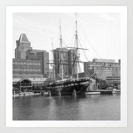 A US Frigate Ship in Baltimore, MD Art Print