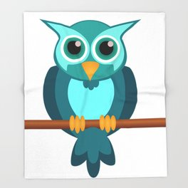 Blue Chibi Owl Throw Blanket