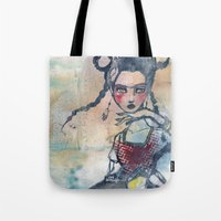 jane davenport Tote Bags featuring Frida is an Emotion by Jane Davenport by Jane Davenport