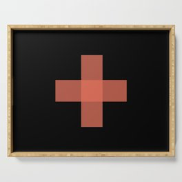 Red Cross on Black - Red and Black Abstract Art Serving Tray