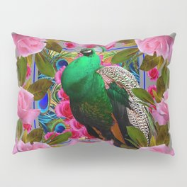 GREY COLOR PINK ROSES &  GREEN PEACOCK ART Pillow Sham