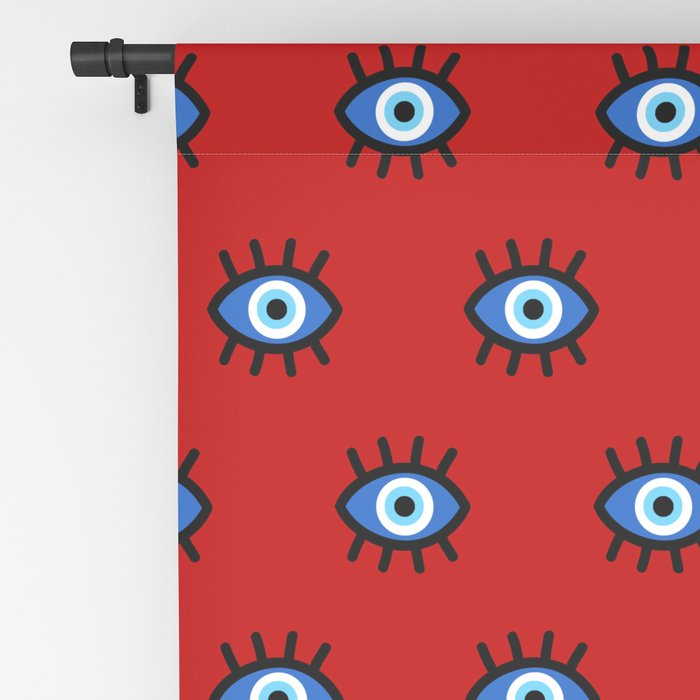 Evil Eye on Red Blackout Curtain