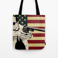 hunter s thompson Tote Bags featuring Hunter S. Thompson by Ignacio Pulido