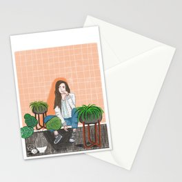 girl in peach with plants illustration painting Stationery Cards