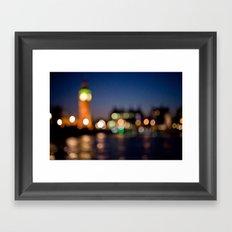London by night bokeh Framed Art Print