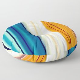 blue pink orange turquoise striped pattern Floor Pillow