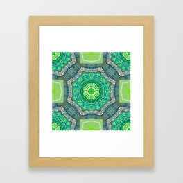 Octagon Kaleidoscope Flower in Green Turquoise and Gray Framed Art Print
