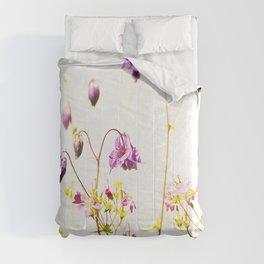 Purple Columbine Flower White Background #decor #society6 #buyart Comforters
