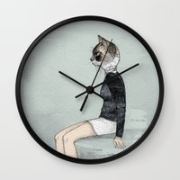 woman Wall Clocks featuring Cat Woman by Sandra Dieckmann