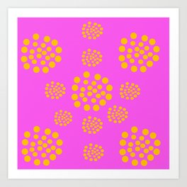 Fuchsia Orange Geometric Abstract Art Print