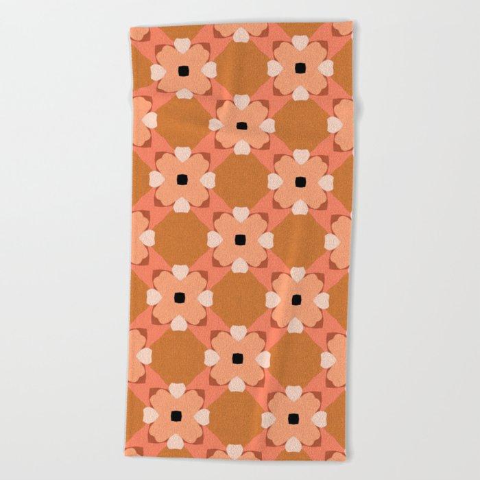 Moroccan floral rattan Beach Towel