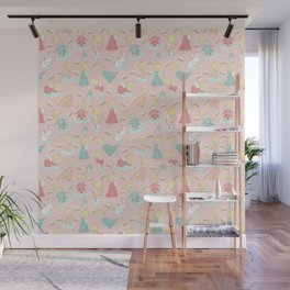 We guard you - blush angel pattern Wall Mural