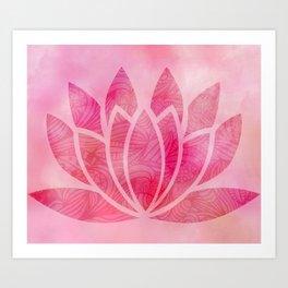 Zen Watercolor Lotus Flower Yoga Symbol Art Print