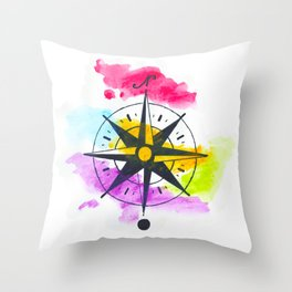 Watercolor Compass Throw Pillow