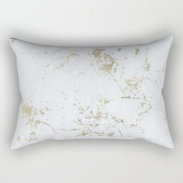 White and gold faux marble Rectangular Pillow