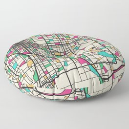 Colorful City Maps: Denver, Colorado Floor Pillow