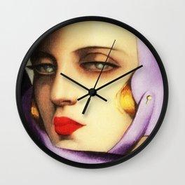 Classical Art Deco Masterpiece 'Self-Portrait' by Tamara de Lempicka Wall Clock