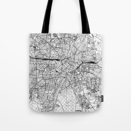 Munich White Map Tote Bag