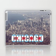 Chicago City Flag Architecture Downtown Color Text Font Type Photography Laptop & iPad Skin