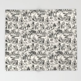 Alice in Wonderland | Toile de Jouy | Black and Beige Throw Blanket
