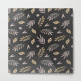 Blush pink gold yellow hand painted floral watercolor pattern Metal Print