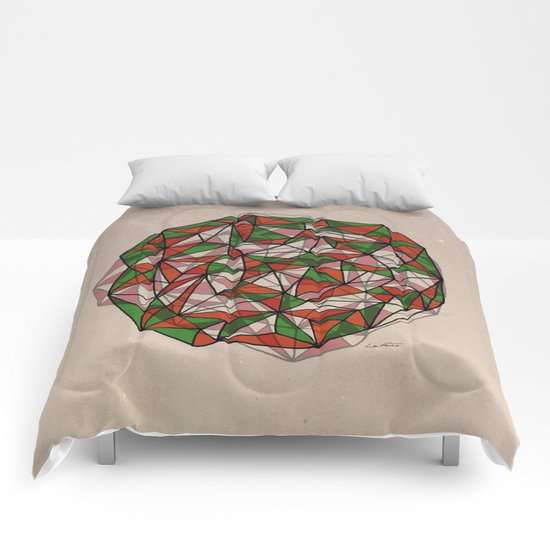 - red orange green - Comforters