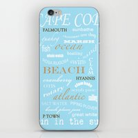 cape cod iPhone & iPod Skins featuring Cape Cod Typography Print by ELIZABETH THOMAS Photography of Cape Cod