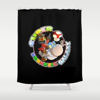starlord Shower Curtains featuring Super Jurassic Galaxy by Nibiru Hybrid