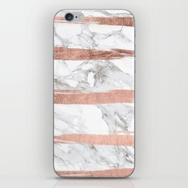Modern chic faux rose gold brush stripes white marble iPhone Skin