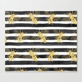 Golden bee noir Canvas Print