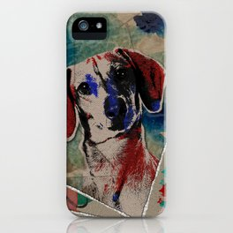 Dachshund Abstract mixed media digital art collage iPhone Case