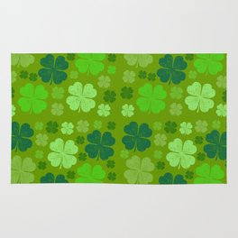 Saint Patrick's Day, Four Leaf Clovers - Green Rug