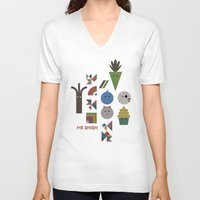 vegetable V-neck T-shirts featuring Vegetable Colours by Mr Onion