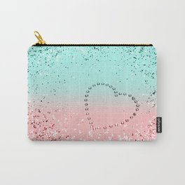 Summer Vibes Glitter Heart #1 #coral #mint #shiny #decor #art #society6 Carry-All Pouch