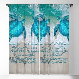 Sea Turtle Ocean Beach Couple's Love Quote Gift Blackout Curtain