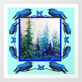 BLUE BUTTERFLIES BLUE BIRDS BLUE FOREST ART Art Print
