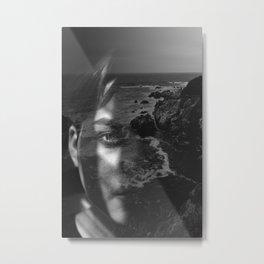 Portrait rock black white Metal Print