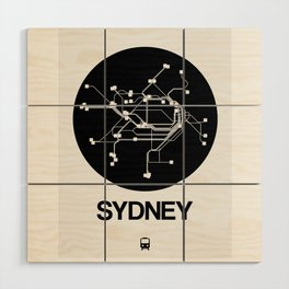 Sydney Black Subway Map Wood Wall Art