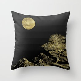Gold and Black  Abstract Landscape Throw Pillow