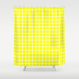 Grid (White & Classic Yellow Pattern) Shower Curtain
