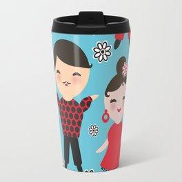 Seamless pattern spanish flamenco dancer. Kawaii cute face with pink cheeks and winking eyes. Travel Mug
