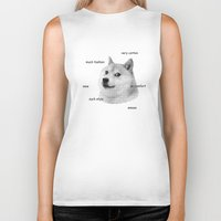 doge Biker Tanks featuring Fashion Doge by AMAG