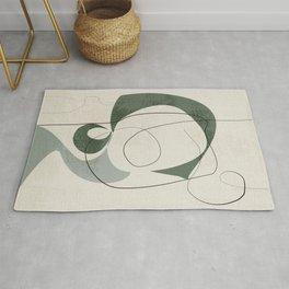 Minimalist Abstract Art Shapes - Scribbles Hunter Green 1 Rug